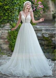 Image 2 - עדין טול V צוואר מחשוף אונליין חתונת שמלה עם חרוזים תחרה אפליקציות ספגטי רצועות שמלות כלה