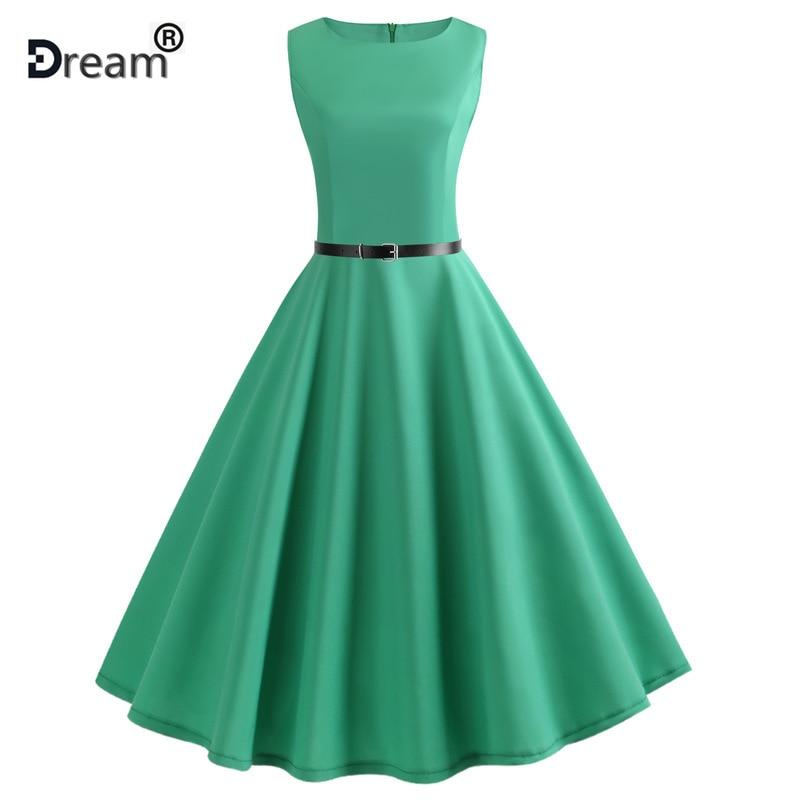 Grüne Vintage Schaukel Kleid Frauen Sommer Dot Sommer Casual Midi Kleider Elegante Party Kleid Vestido Tunika Plus Größe Robe Femme