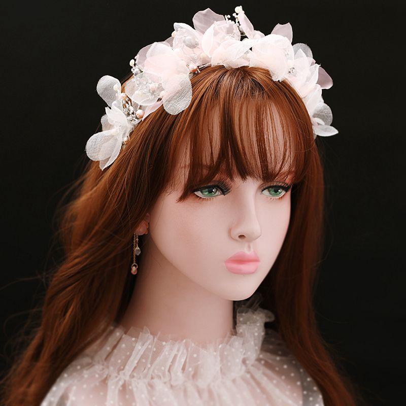 Brides faites à la main fil fleur bandeaux perles perles ensemble de bijoux ornement mariage/fiançailles accessoires fées chapeaux XL091