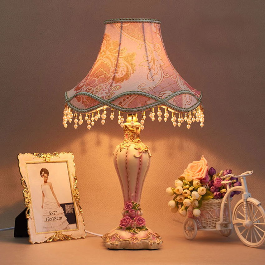 Led Table Lamps Lights & Lighting Europe Modern Fabric Table Lamp Blue Cloth Lampshade Resin Decoration Desk Lamp Light For Bedroom Living Room Bedside Read Lamps
