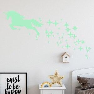 Image 5 - Autocollants lumineux, motif étoile, licorne cheval, dessin animé, étiquette fluorescente sculptée créative, décoration murale adorable, Festival de vacances