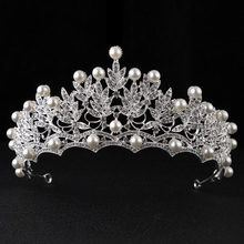Magnificent Pearl Rhinestone Tiaras Crowns Bridal Jewelry Wedding Accessory Hair Jewelry Hairwear Princess Evening Party Gift