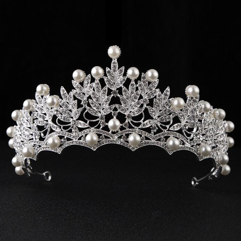 Magnificent Pearl Rhinestone Tiaras Crowns Bridal font b Jewelry b font Wedding Accessory Hair font b