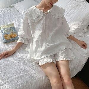 Image 5 - קיץ נשים של לוליטה נסיכת פיג מה סטים. חולצות + מכנסיים קצרים. בציר גבירותיי ילדה של תור למטה צווארון פיג סט. הלבשת Loungewear