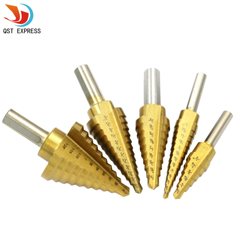 5pcs Set Titanium Straight Groove HSS Metal Step Drill Bit Hole Cutter Wood Cone Core Drilling