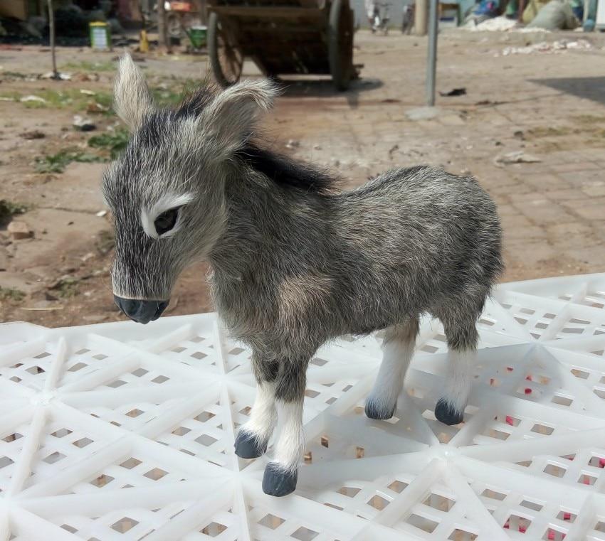 Large 23x18cm Simulation Gray Donkey Toy Lifelike Donkey Model Decoration Birthday Gift T124