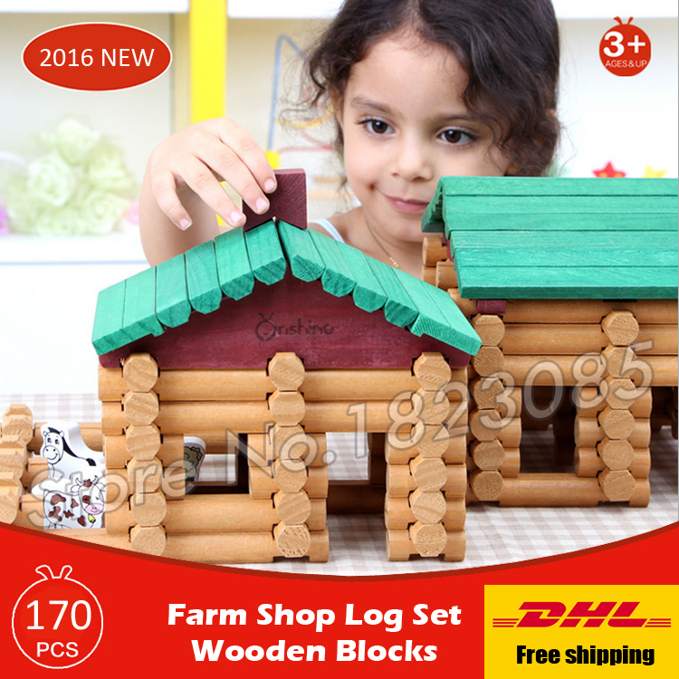 170pcs Farm Shop Log Set Model Forest Lodge Creative Assemble Wooden Construction House Set Model Building Blocks Toys