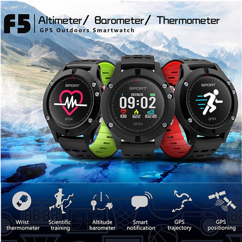 <font><b>NO.1</b></font> <font><b>F5</b></font> <font><b>Smart</b></font> <font><b>Watch</b></font> IP67 Heart Rate Monitor GPS Multi-Sport Mode OLED Altimeter Bluetooth Fitness Tracker Android iOS waterproof image