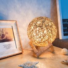 Rattan Ball LED Night Light Luna Lamp 15CM Romantic Moon USB Charging Home Decor Creative Table Desk Birthday Gift