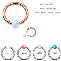 Opal Ear Tragus Cartilage Helix Ring Lip Eyebrow Ring Piercing For Sexy Girls Jewelry Nose Hoop Rings Body Jewelry