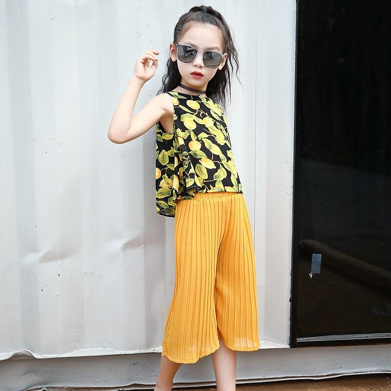 Комплекты летней одежды для девочек 2018 шифон Магон жилет +штаны, комплект из 2 вещей для подростка предложение комплекты одежды для девочек ...