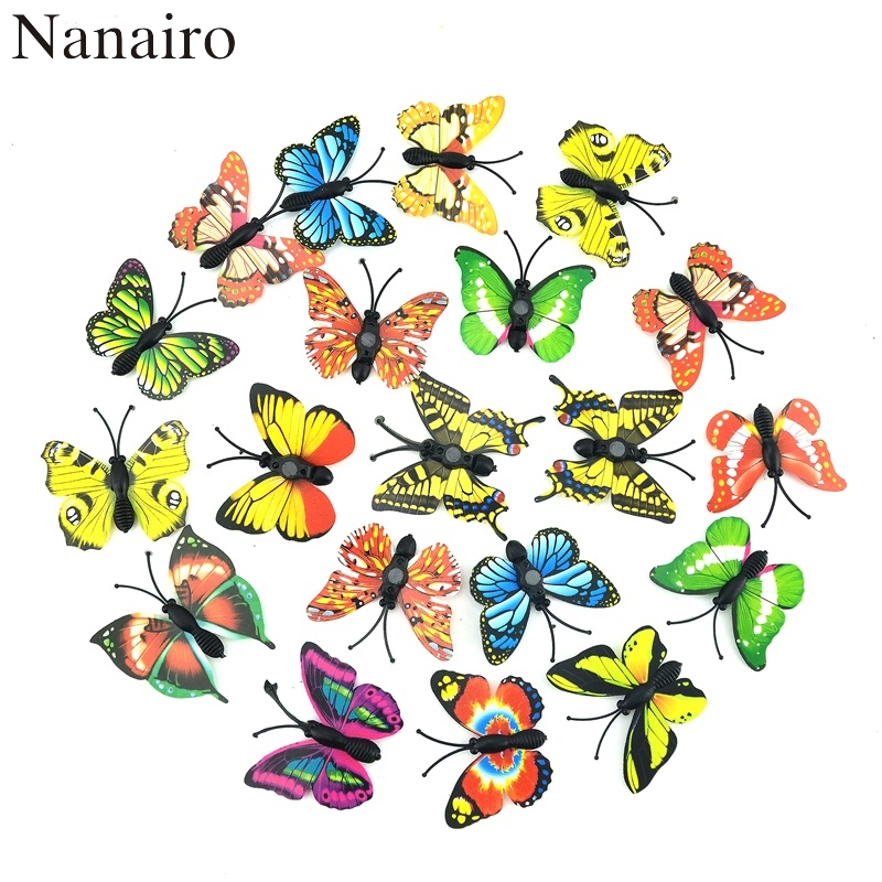 12Pcs Magnet 3D Multicolor PVC Flower Butterfly Wall Stickers For Girl Kids Baby Rooms Kitchen Home Decoration Adhesive To Wall