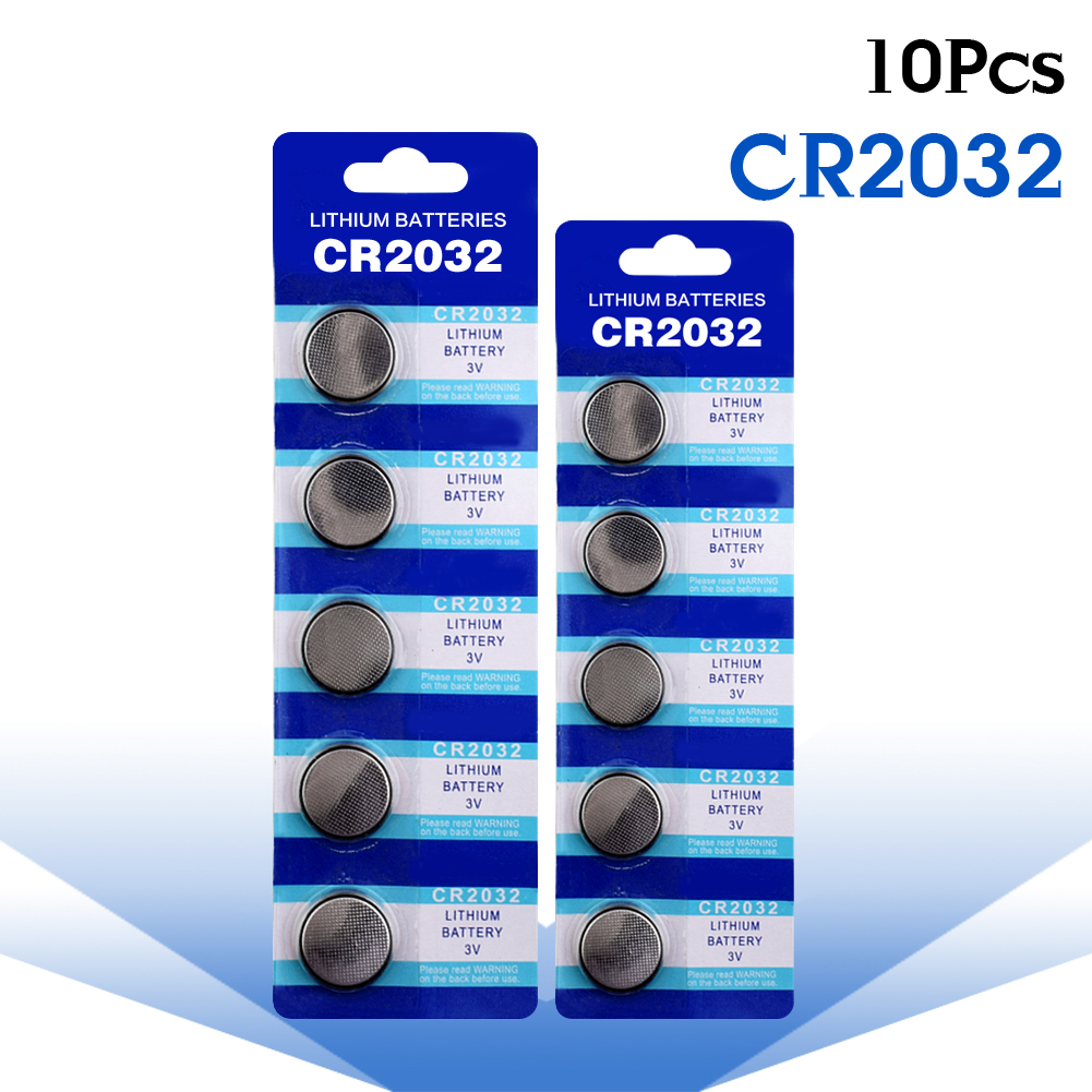 YCDC 10 Pcs Button Batterie CR2032 Batteries 2032 5004LC ECR2032 DL2032 KCR2032 3V Lithium Type Button Coin Cell Watch Battery