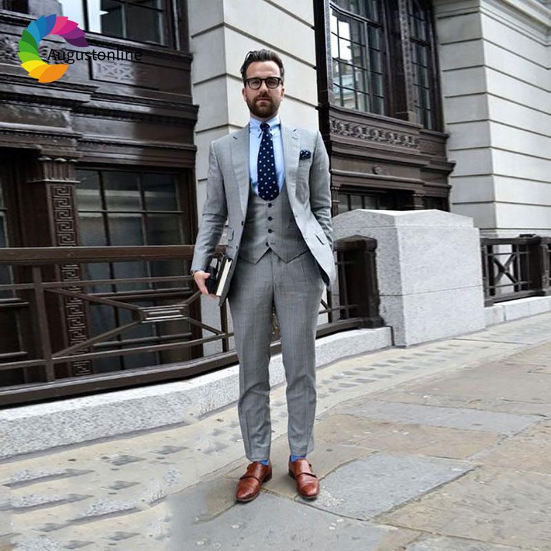 Hot Sale Grey Linen Men Suits Beach Wedding Custom Made Man Blazer