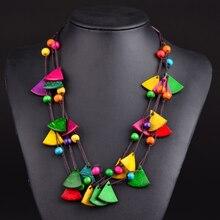 Bohemian Ethnic Wood Necklace Vintage Long Multi-layer Geometric Pendant Women Sweater Chain Dress Accessories