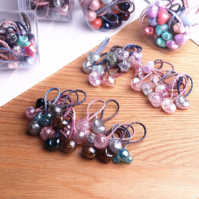 20PCS New Princess Flower Color Ball Kids Elastic Hair Bands Baby Headdress Children Hair Ropes Girls Hair Accessories