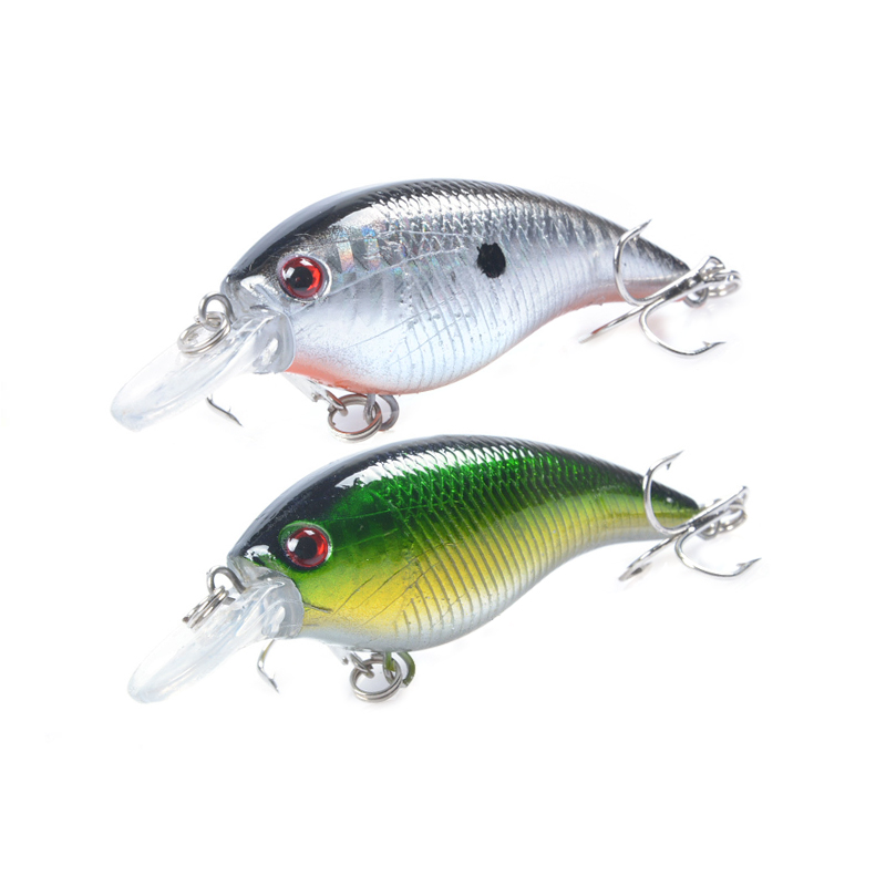 1pcs 7.5cm 10.2g Hard Crank Crankbaits Slow Floating Plastic Bait 3D Eyes Treble Hooks Fishing Lure Bass Fishing