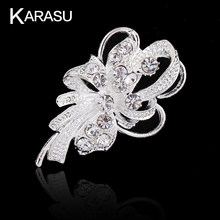 Brillante Elegante Fashion Wedding Bouquet di Strass color Argento Spille per le Donne Spilla Pins Gioielli(China)