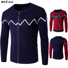 2016 New Clothing Cotton Stand Collar Autumn Winter Pattern Striped Sweater Men Plus Size M-XXL