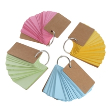 Kraft Paper Binder Ring Easy Flip Flash Cards Study Memo Pads DIY Stationery subtraction 52 flash cards
