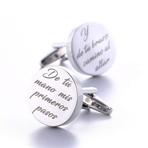 Image 5 - Gemelos de boda personalizados, redondos de plata, regalos de boda para novio, logotipo letras grabadas, palabras, joyas Gemelos