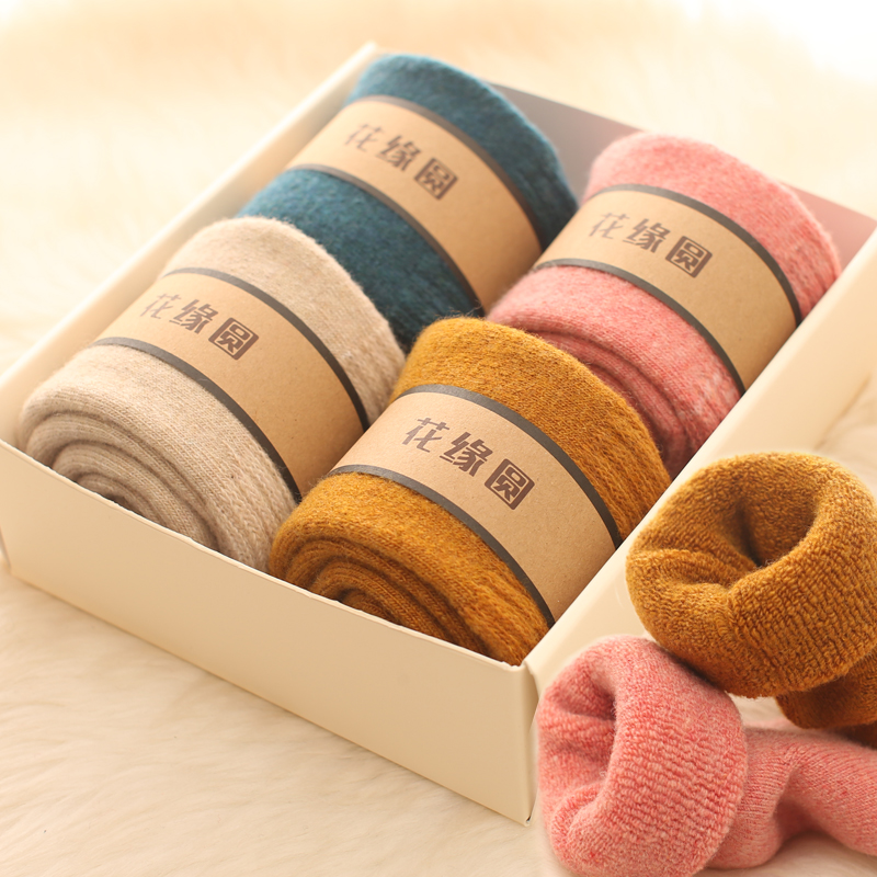 4pair Merino Brand Wool Thick Warm Socks Women Japanese Style Winter Cashmere Women Socks Tube Slippers Simple Style Crew