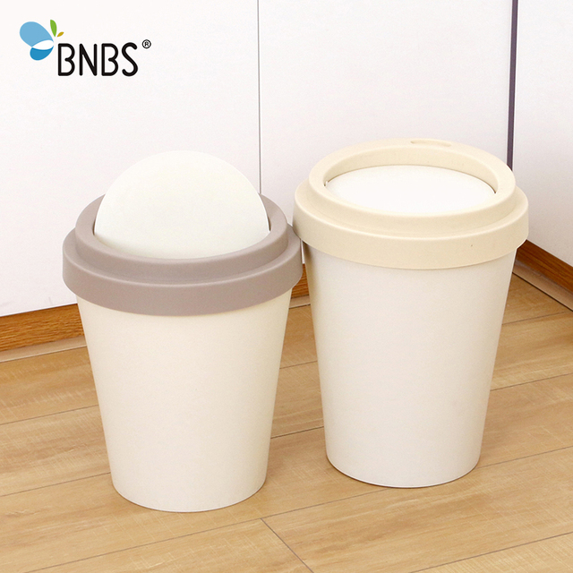 BNBS Trash Can Plastic Waste Bins Creative Cup Shape Kitchen Garbage  Cleaning Barrel Rolling Cover Bathroom