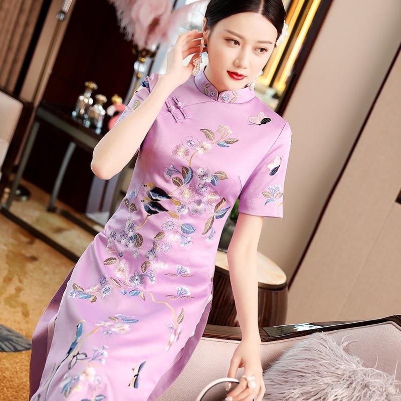 High Class Luxury Embroidery Floral Cheongsam Qipao Short Sleeve Dress For Lady