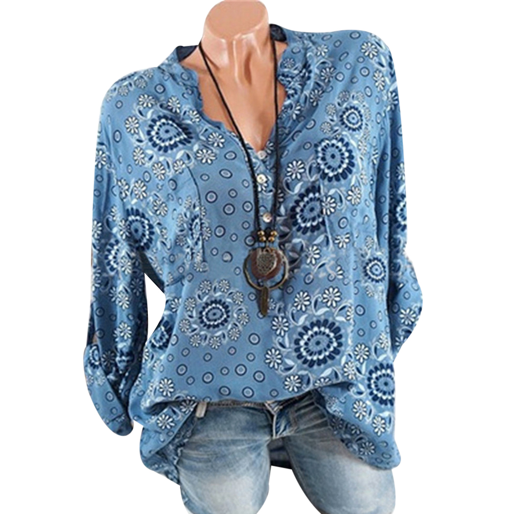 Summer Women Floral Blouse V Neck Female Office Blouses Long Sleeved Shirts Ladies Tops Blusas Mujer De Moda Plus Size Z4