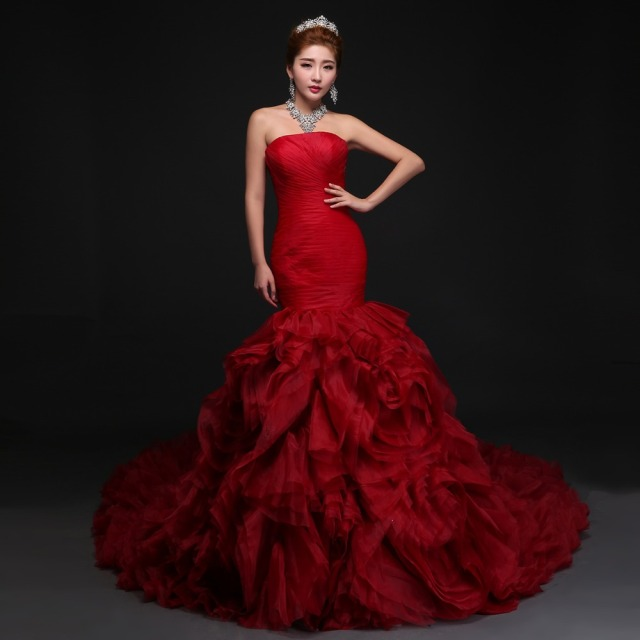 2016 Romantic Design Red Rose Wedding Dresses Flat Shoulder Backless ...