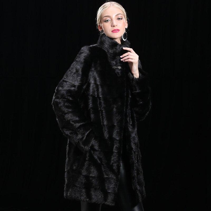 XINYUXIANG 2018 Personnaliser Réel De fourrure de Vison Manteaux Femmes Hiver De Mode Chaud Épais Outwear noir Femelle Naturel Fourrure De vison À Long vestes