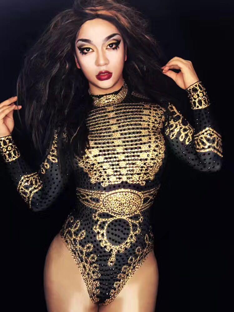 Sexy Beyonce Body Noir Or à Manches longues Justaucorps Tenues Stade Vêtements pour Chanteurs Strass Salopette Costumes Danseurs