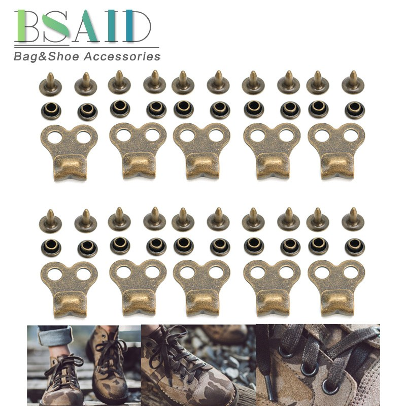 BSAID 50pcs/set Gunmetal Boot Hooks Lace Fittings With Rivets Camp Hike Climbing Repair Shoe Buckles Rivets For Shoes Accessory