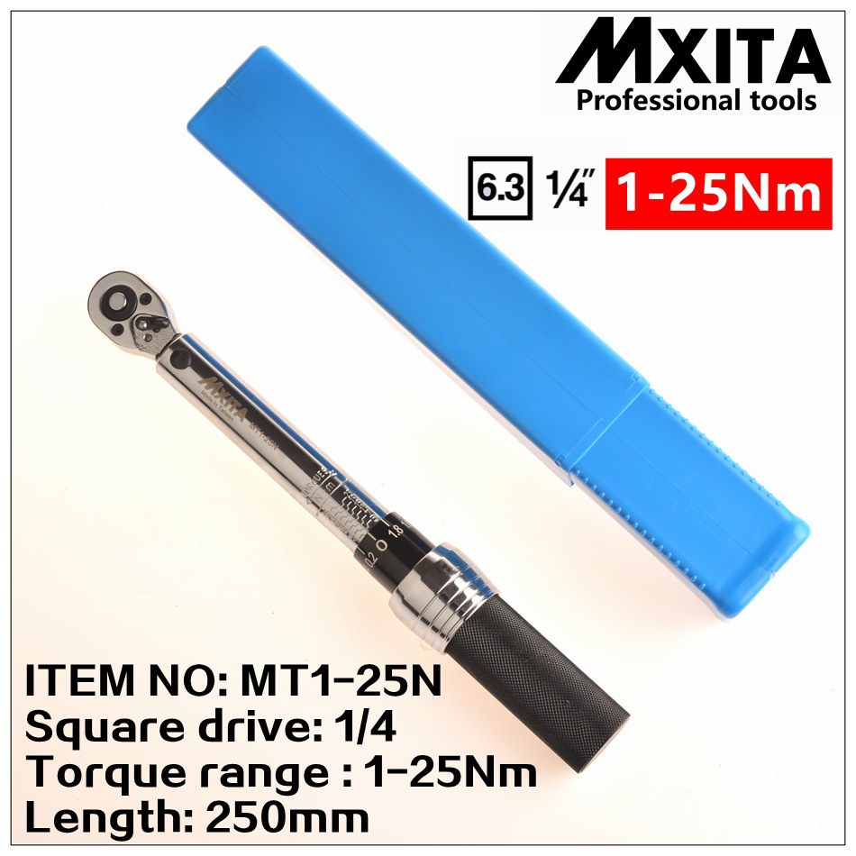 MXITA  1/4DR. 2-14N.m Manual Torque Wrench Spanner Ratchet Wrench Suit For Repairing Bicycle Packed in Plastic Storage Box mxita 1 2 5 60n adjustable torque wrench hand spanner car wrench tool hand tool set