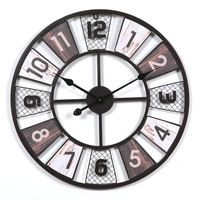 Homingdeco 60CM Creative Wooden Retro Round Wall Clock Household Hollow Out Iron Hanging Clock Household Home