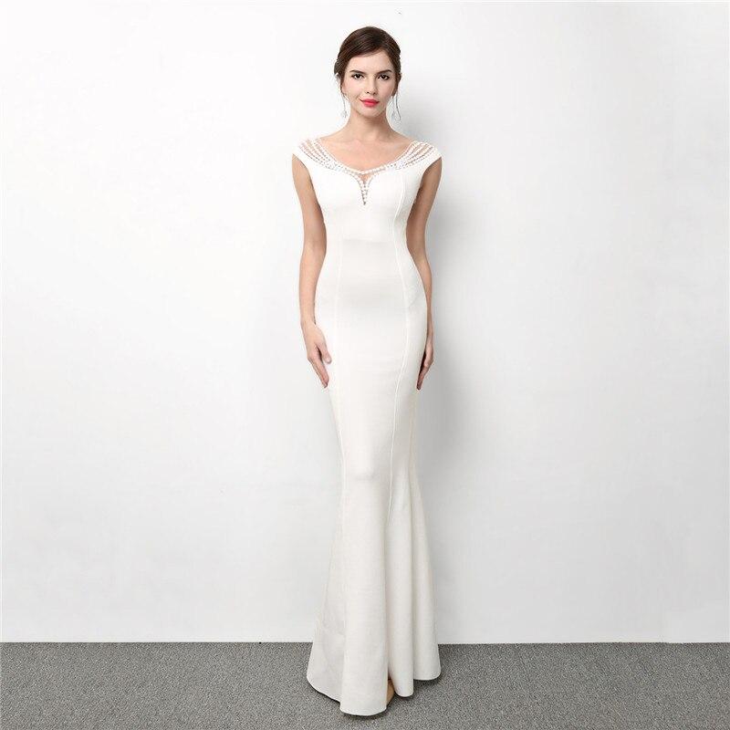 White Cotton & Mesh Gemstone Beads Sleeveless Backless Long Formal Dress Elegant Wedding Party Dresses For Women Night Club Wear