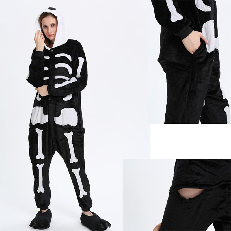 Winter Halloween Kigurumi Pajama Sets Cartoon Sleepwear Cosplay Men Women Flannel Animal Stitch Skeleton