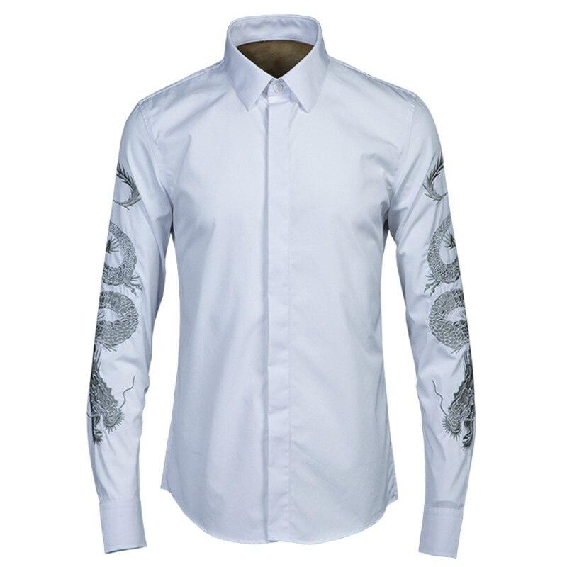 الربيع و الصيف الأصلي الذهب التنين التطريز قميص الرجال الكلاسيكية الاتجاه غير الحديد قميص رجل جودة العلامة التجارية قمصان بيضاء الذكور-في قمصان كاجوال من ملابس الرجال على  مجموعة 1