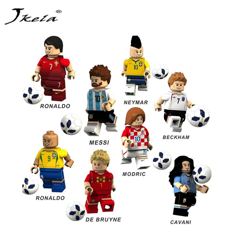[Jkela] 4Pcs / 8Pcs Soccer Player Figure England Brazil Argentina Team Building Blocks Sets Bricks Model Compatible Legoings toy