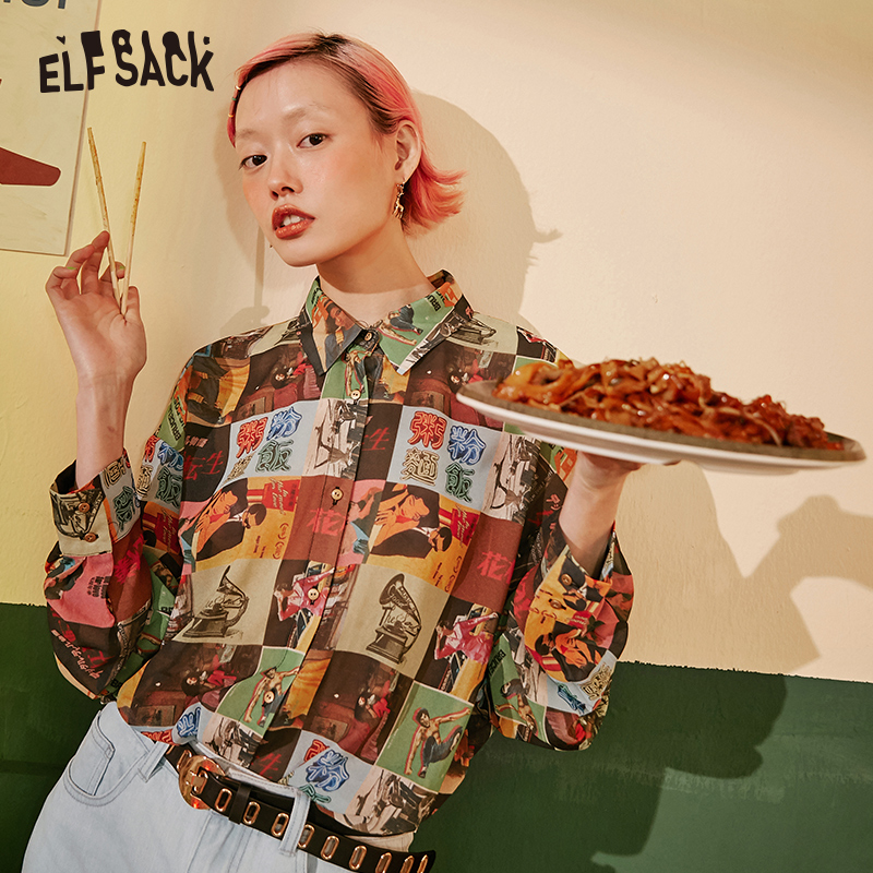 ELF SACK Vintage Print Women Shirts 2019 Autumn Fashion Streetwear Full Sleeve Female Blouses Office Lady