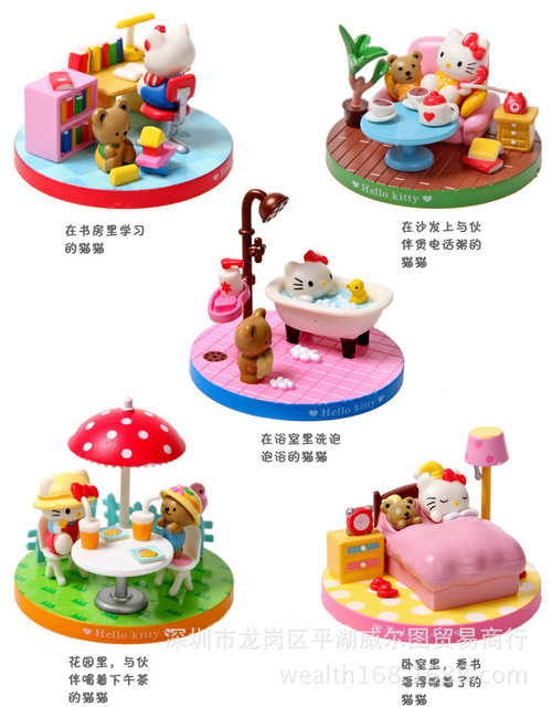 Cat Plastic Action Figure Office Fashion Decoration Dolls Toy