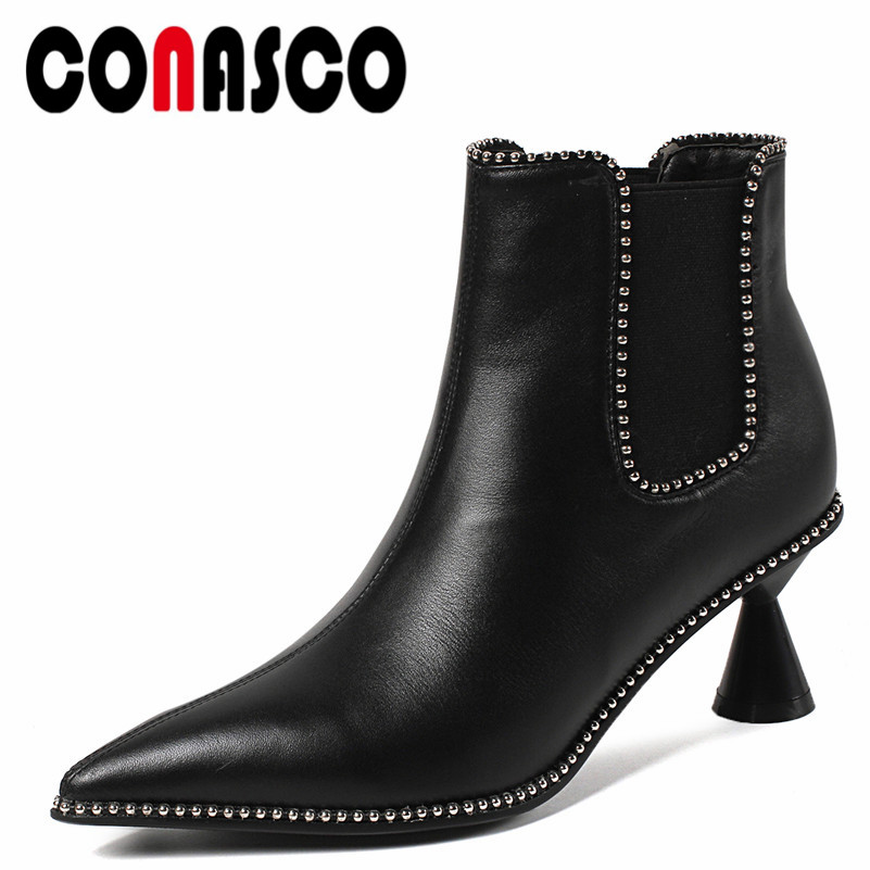 CONASCO Sexy Pointed Toe Punk Rivet Shoes Women Ankle Boots Autumn Winter Warm High Heels Shoes Woman Genuine Leather Pumps maloneda custom made genuine leather blue color dress shoes handmade goodyear welted lace up mens oxford brogue shoe