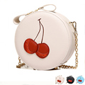 Red Cherry Purse Crossbody Bag PU Hand Bag Cute Round Fruit Pattern Coin Purse Cherries Accessories Pouch Sweet Lolita Style