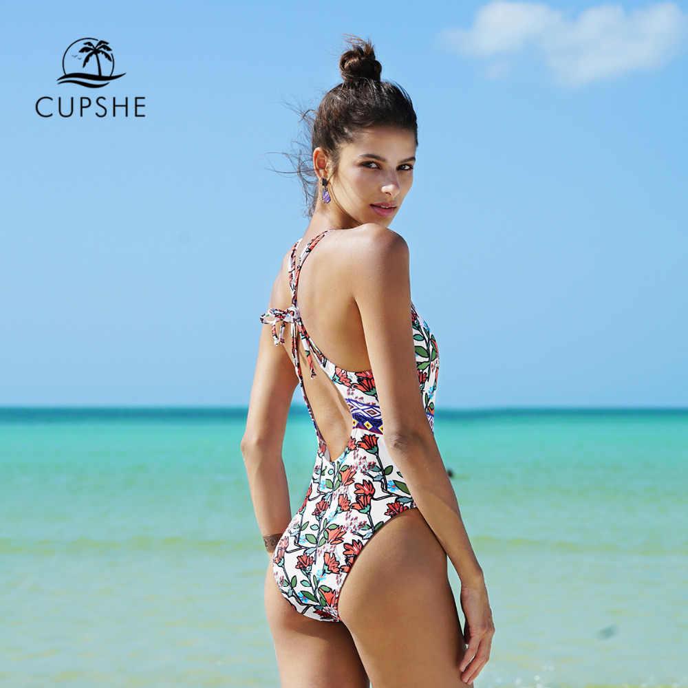 b31691181b4 ... CUPSHE Spring Blossoms Print One-piece Swimsuit Backless Deep V neck  Summer Sexy Bikini Set ...