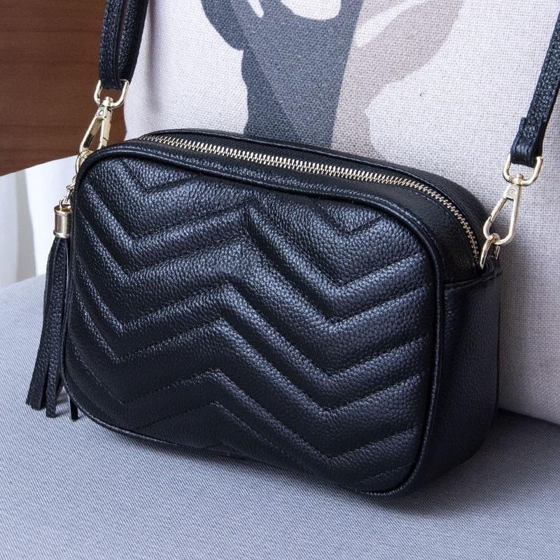 Fashion Socialite Genuine Soft Cowhide Cow Leather Geometric Messenger Bags Handbag Women Bag Designer Handbags Clutch Maidy