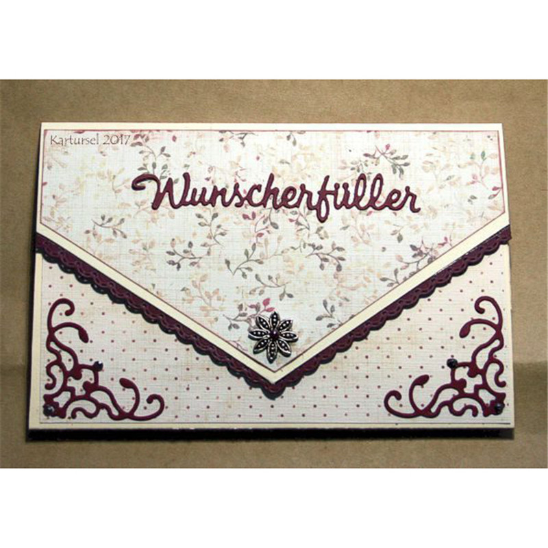 GJCrafts German Wunscherfueller Letter Dies Word Dies Metal Cutting Dies Stencils for DIY Scrapbook Card Decor Embossing Craft in Cutting Dies from Home Garden