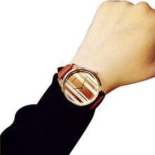 TZ #501 творческая личность простой полосатый Водонепроницаемый кожаный ремень пару часов Бесплатная доставка
