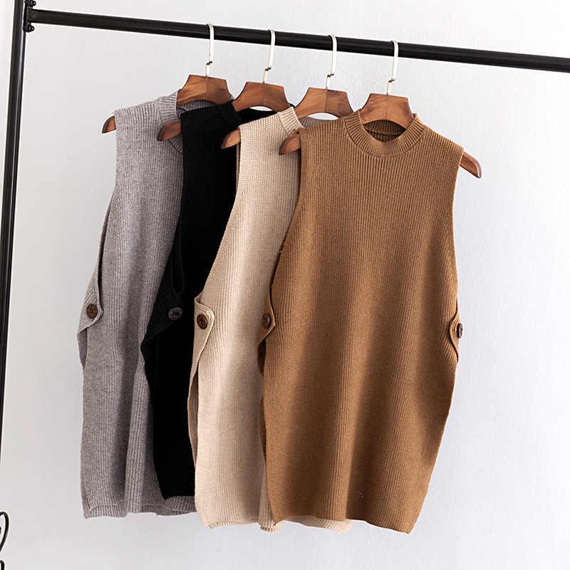 K6 осень-зима Свободные свитеры плюс Размеры женская одежда модные свободные вязаные свитера и пуловеры жилеты 1816