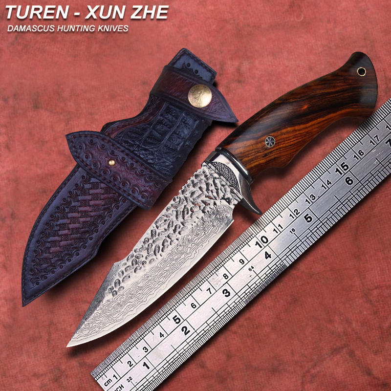 TUREN Xun Zhe 60 HRC Handmade Damascus hunting straight knife rosewood ebony handle with vegetable tanned