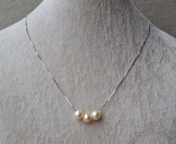 New Pearls Jewellery,3 Pearls AA 8MM White Color Natural Freshwater Pearls Necklace Made With 925 Sterling Silver Chain free shipping imitation pearls chain flatback resin material half pearls chain many styles to choose one roll per lot